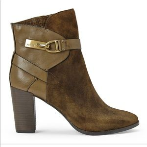 Aerin suede and leather buckle bootie - size 7